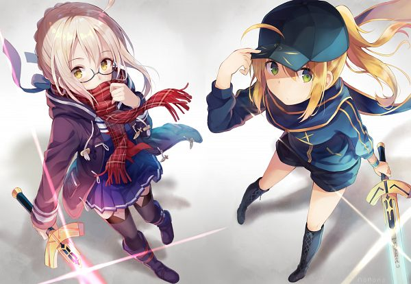 Tags: Anime, nonono*, Fate/Grand Order, Berserker (Mysterious Heroine X Alter), Saber (Fate/stay night), Mysterious Heroine X, PNG Conversion