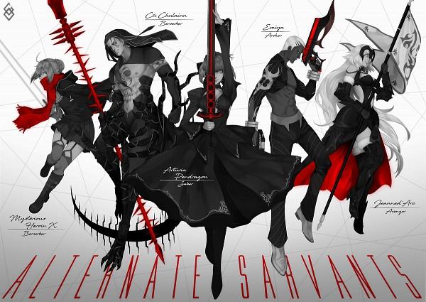 Tags: Anime, Pixiv Id 21843974, Fate/Grand Order, Saber (Fate/stay night), Archer (EMIYA Alter), Joan of Arc (Fate/Apocrypha), Berserker (Mysterious Heroine X Alter), Berserker (Cú Chulainn Alter), Saber Alter, Joan Alter, Lancer (Fate/stay night), Kanshou & Bakuya, La Grondement Du Haine