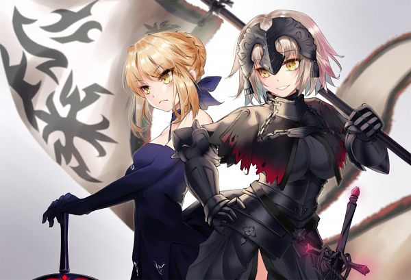 Tags: Anime, Rain (Nadroj31), Fate/Grand Order, Saber Alter, Saber (Fate/stay night), Joan of Arc (Fate/Apocrypha), Joan Alter, Excalibur Morgan, La Pucelle (Sword), La Grondement Du Haine, La Grande Roue, FGO Iracon, PNG Conversion