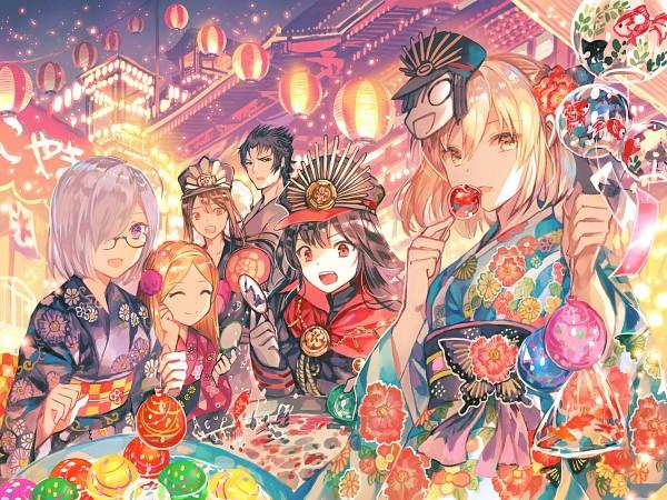 Tags: Anime, rioka (Southern Blue Sky), Fate/Grand Order, Mash Kyrielight, Oda Nobukatsu (Fate/Grand Order), Shielder (Fate/Grand Order), Berserker (Hijikata Toshizou), Berserker (Chacha), Sakura Saber, Majin Archer, Festival, Paper Lantern, Candy Apple