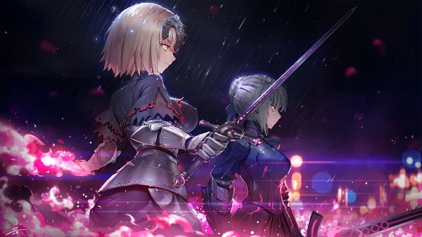 Tags: Anime, Pixiv Id 3012583, Fate/Grand Order, Joan of Arc (Fate/Apocrypha), Saber Alter, Joan Alter, Saber (Fate/stay night), Wallpaper