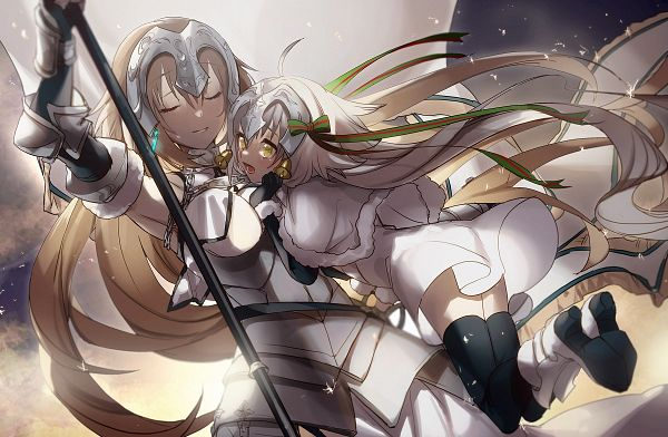 Tags: Anime, No-kan, Fate/Grand Order, Joan Alter Santa Lily, Joan of Arc (Fate/Apocrypha), Joan Alter, Holding Flag, Pixiv, Twitter, Fanart, Fanart From Pixiv
