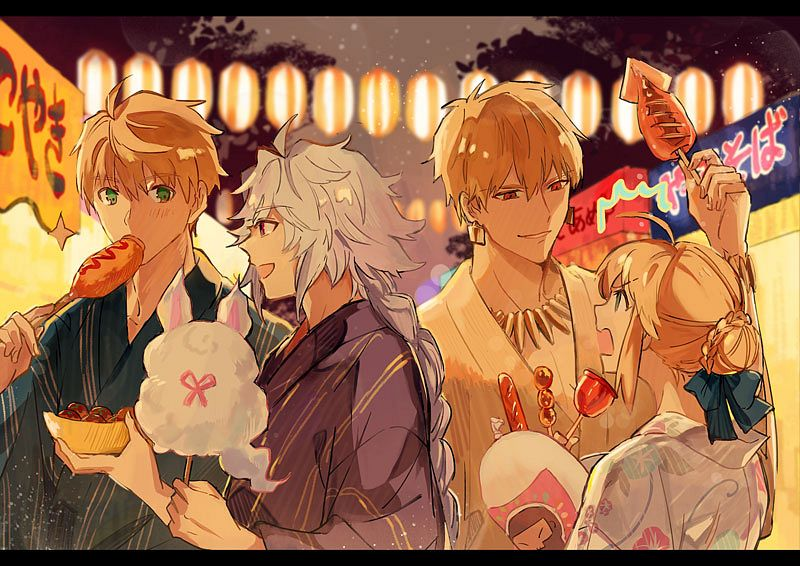 Tags: Anime, Pixiv Id 2189026, Fate/Grand Order, Saber (Fate/Prototype), Merlin (Fate/stay night), Gilgamesh, Saber (Fate/stay night), Fou (Fate/Grand Order), Takoyaki, Squid, Corn Dog, Festival, Ikayaki