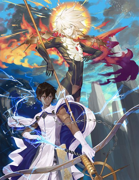 Tags: Anime, Pixiv Id 9050584, Fate/Grand Order, Archer (Fate/Grand Order), Red Lancer, Agni Gandiva, Vasavi Shakti, FGO Iracon 2, Pixiv