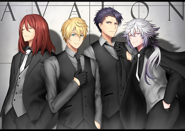 Tags: Anime, Pixiv Id 4833586, Fate/Grand Order, Archer (Tristan), Saber (Fate/Prototype), Merlin (Fate/stay night), Saber (Lancelot)