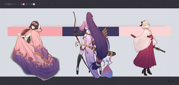 Tags: Anime, Pixiv Id 2912049, Fate/Grand Order, Berserker (Minamoto no Yorimitsu), Sakura Saber, Assassin (Osakabehime), Pixiv, Fanart, Fanart From Pixiv