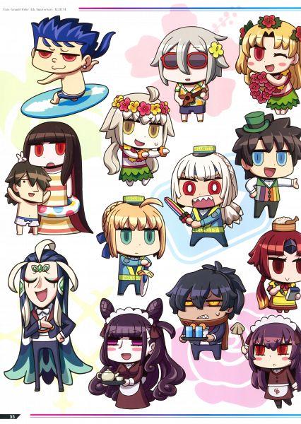 Tags: Anime, Riyo, DELiGHTWORKS, Fate/Grand Order Fes2019 4th Anniversary ALBUM - Chaldea Park, Fate/Grand Order, Saber (Lanling Wang), Lancer (Fate/stay night), Lancer (Fate/Grand Order), Caster (Murasaki Shikibu), Tohsaka Rin, Rider (Koha-Ace), Ritsuka Fujimaru, Saber (Benienma)
