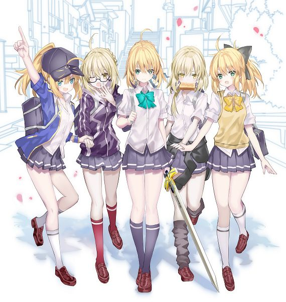 Tags: Anime, Shino (Eefy), Fate/Grand Order, Mysterious Heroine X, Saber Lily, Saber (Fate/stay night), Berserker (Mysterious Heroine X Alter), Saber Alter, Caliburn, Pixiv, Fanart From Pixiv, Fanart