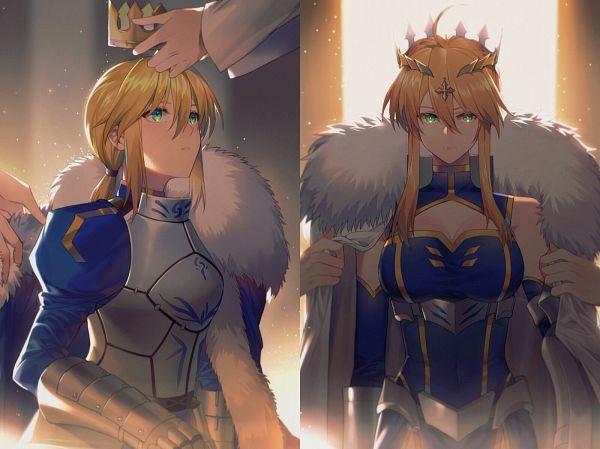Tags: Anime, Yorukun, Fate/Grand Order, Fate/stay night, Lancer (Artoria Pendragon), Saber (Fate/stay night), Fanart, Fanart From Pixiv, Pixiv