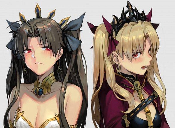 Tags: Anime, Hankuri, Fate/Grand Order, Archer (Ishtar), Tohsaka Rin, Lancer (Ereshkigal), Pixiv, Fanart, Fanart From Pixiv
