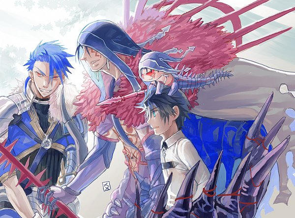 Tags: Anime, Pixiv Id 27511139, Fate/Prototype, Fate/Grand Order, Mini Cu-chan, Berserker (Cú Chulainn Alter), Ritsuka Fujimaru, Lancer (Fate/stay night), Lancer (Fate/Prototype), Body Paint, Fanart, Fanart From Pixiv, Pixiv