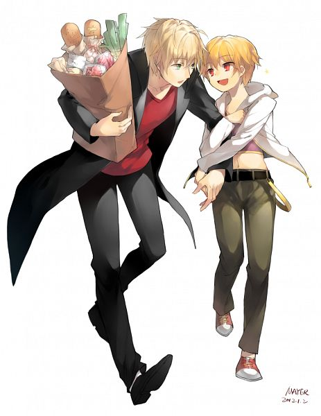 Tags: Anime, Mayer, TYPE-MOON, Fate/Prototype, Fate/hollow ataraxia, Saber (Fate/Prototype), Gilgamesh, Ko-gil, Groceries, Hugging Arm, Fanart, Fanart From Pixiv, Pixiv