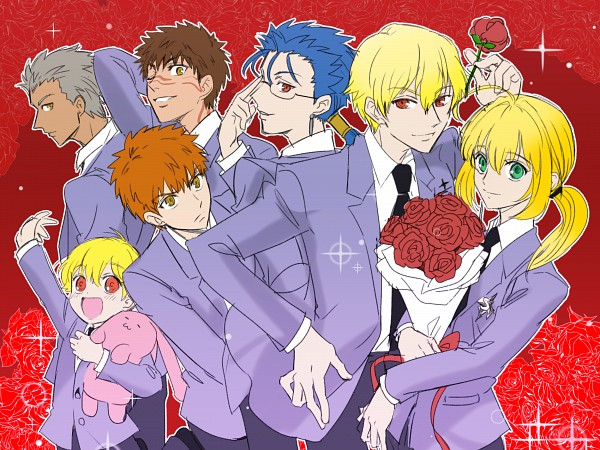 Tags: Anime, Pixiv Id 12937740, Fate/hollow ataraxia, Gilgamesh, Saber (Fate/stay night), Lancer (Fate/stay night), Ko-gil, Emiya Shirou, Avenger (Fate/hollow ataraxia), Archer (Fate/stay night), Ouran High School Host Club (Parody), Ouran High School Host Club (Cosplay), Fanart From Pixiv