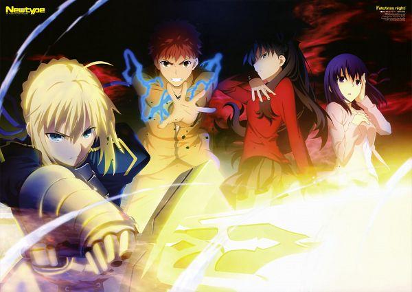 Tags: Anime, Katou Yasuhisa, TYPE-MOON, ufotable, Fate/stay night: Unlimited Blade Works, Newtype 2014-03, Fate/stay night, Matou Sakura, Saber (Fate/stay night), Emiya Shirou, Tohsaka Rin, Newtype Magazine (Source), Official Art