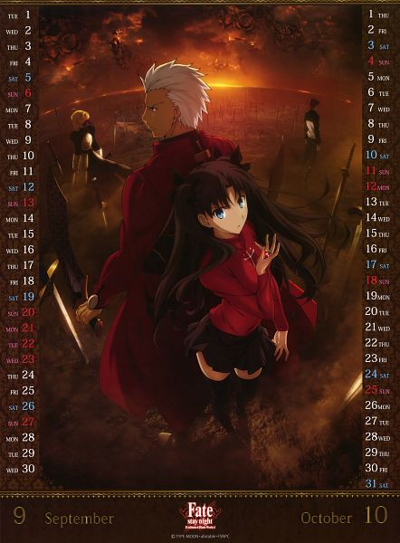 Tags: Anime, ufotable, Fate/stay night: Unlimited Blade Works, Fate/stay night: Unlimited Blade Works 2015 Calendar, Fate/stay night, Saber (Fate/stay night), Emiya Shirou, Archer (Fate/stay night), Tohsaka Rin, Official Art, Calendar 2015, Scan, Calendar (Source)