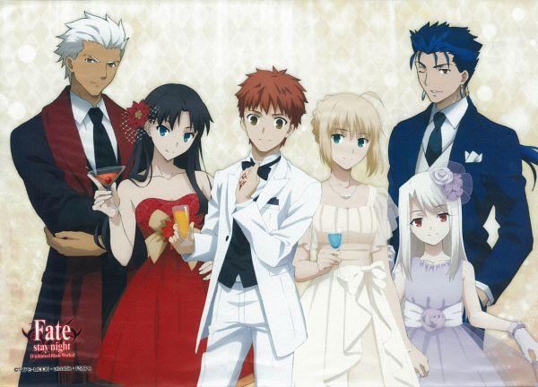 Tags: Anime, ufotable, Fate/stay night: Unlimited Blade Works, Fate/stay night, Emiya Shirou, Tohsaka Rin, Archer (Fate/stay night), Illyasviel von Einzbern, Saber (Fate/stay night), Lancer (Fate/stay night), Party, Scan, Official Art
