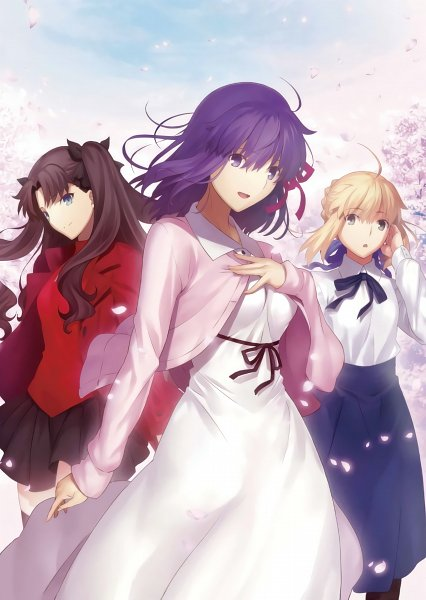 Tags: Anime, Sudou Tomonori, ufotable, Fate/stay night : Heaven's Feel - I Presage Flower, Fate/stay night : Heaven's Feel, Fate/stay night, Matou Sakura, Tohsaka Rin, Saber (Fate/stay night), Spring, Ribbon around Body, Official Art, Fate/stay Night Movie: Heaven's Feel - I. Presage Flower