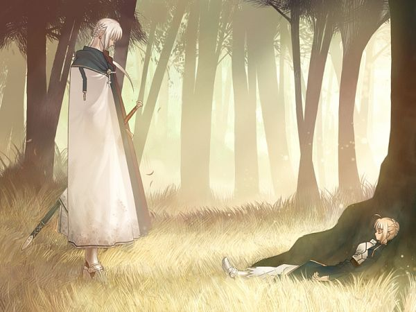 Tags: Anime, Takeuchi Takashi, TYPE-MOON, Fate/stay night, Saber (Fate/stay night), Bedivere (Fate/stay night), Bright Colors, CG Art