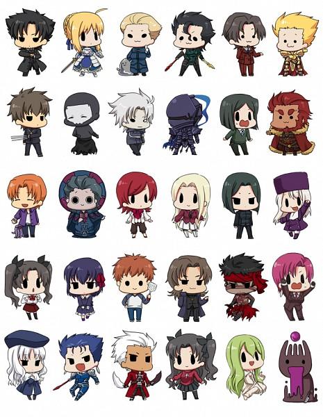 Tags: Anime, Gyuuki (Artist), TYPE-MOON, Fate/strange fake, Carnival Phantasm, Fate/zero, Fate/hollow ataraxia, Fate/stay night, Lancer (Fate/stay night), Waver Velvet, Caster (Fate/zero), Saber (Fate/stay night), Grail-kun