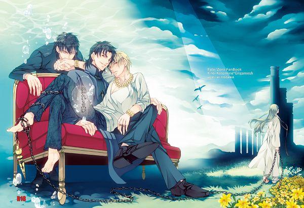Tags: Anime, Nishi Juuji, Fate/zero, Fate/strange fake, Fate/stay night, Lancer (Fate/strange fake), Gilgamesh, Emiya Kiritsugu, Kotomine Kirei, Kissing Hand, Fanart, Pixiv
