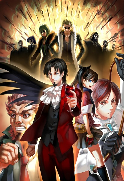 Tags: Anime, Otaku (Artist), TYPE-MOON, Fate/zero, Fate/strange fake, Fate/stay night, Tohsaka Tokiomi, Tohsaka Rin, Sola-Ui Nuada-Re Sophia-Ri, Gilgamesh, Lancer (Fate/strange fake), Assassin (Fate/zero), Rider (Fate/zero)