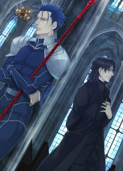 Tags: Anime, Rui Yuda, TYPE-MOON, Fate/stay night, Kotomine Kirei, Lancer (Fate/stay night)
