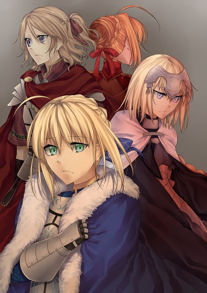 Tags: Anime, Nashoki, Fate/Apocrypha, Fate/EXTRA, Fate/stay night, Saber (Fate/EXTRA), Joan of Arc (Fate/Apocrypha), Saber (Fate/stay night), Fanart From Pixiv, Mobile Wallpaper, Fanart, Pixiv
