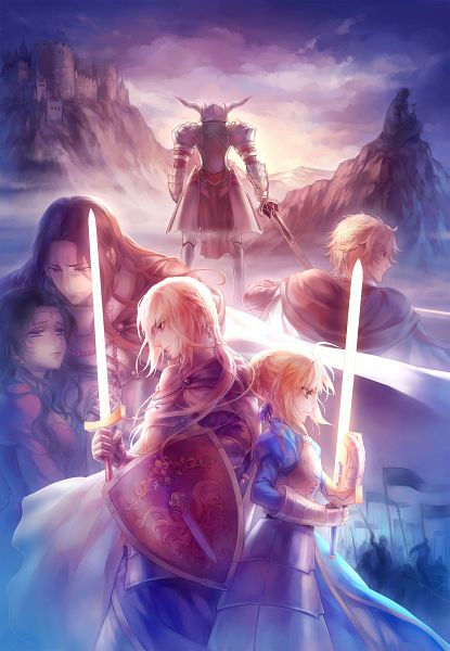 Tags: Anime, kanmuri, Fate/stay night, Red Saber, Bedivere (Fate/stay night), Berserker (Fate/zero), Saber (Gawain), Saber (Fate/stay night), Army, Fanart, Fanart From Pixiv, Pixiv, Mobile Wallpaper