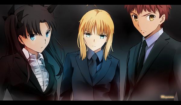 Tags: Anime, Pixiv Id 9580845, Fate/stay night, Emiya Shirou, Tohsaka Rin, Saber (Fate/stay night), Wallpaper, Fanart From Pixiv, Pixiv, Fanart