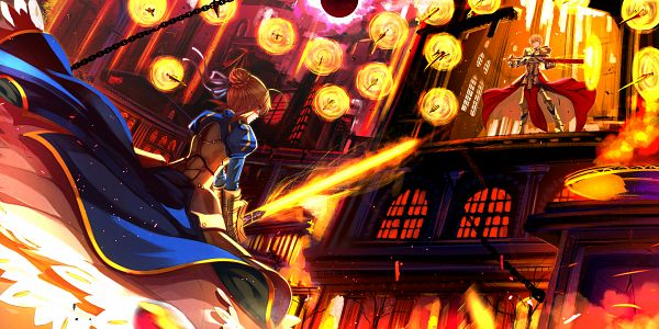 Tags: Anime, Swordsouls, Fate/stay night, Saber (Fate/stay night), Gilgamesh, PNG Conversion, Fanart, Facebook Cover, Pixiv, Fanart From Pixiv, Wallpaper