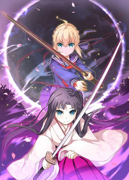 Tags: Anime, Pixiv Id 4120217, Capsule Servant, Fate/stay night, Saber (Fate/stay night), Master Artoria, Tohsaka Rin, Sakura Saber (Cosplay), Mobile Wallpaper