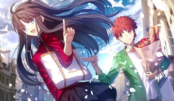 Tags: Anime, Shima Shinoji, Fate/stay night: Unlimited Blade Works, Fate/stay night, Tohsaka Rin, Emiya Shirou, Shopping, Shopping Bag, PNG Conversion, Fanart, Revision, Pixiv, Fanart From Pixiv