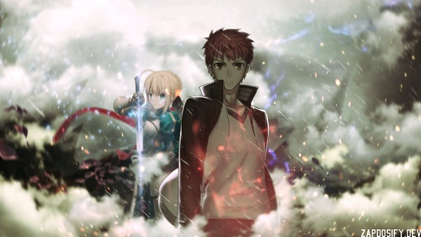 Tags: Anime, Fate/stay night, Saber (Fate/stay night), Emiya Shirou, Wallpaper, Fanmade Wallpaper, Edited, Self Made, HD Wallpaper
