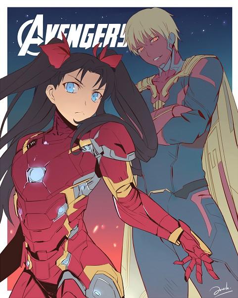Tags: Anime, Pixiv Id 8135909, Fate/stay night, Tohsaka Rin, Gilgamesh, The Avengers (Parody), Iron Man (Cosplay), Vision (Marvel) (Cosplay)