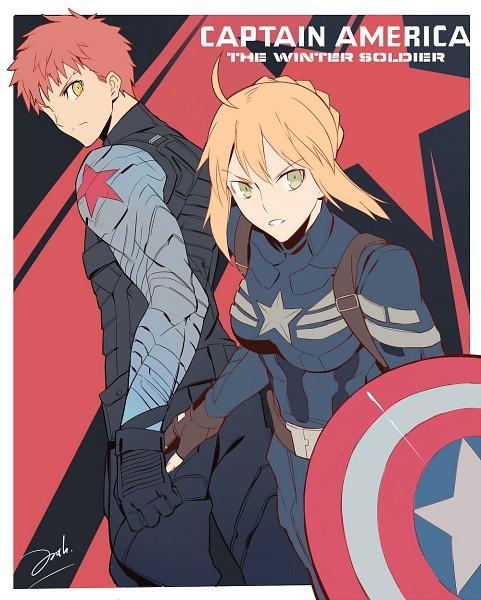 "Tags: Anime, Pixiv Id 8135909, Fate/stay night, Saber (Fate/stay night), Emiya Shirou, James Buchanan ""Bucky"" Barnes (Cosplay), The Avengers (Parody), Captain America (Cosplay)"