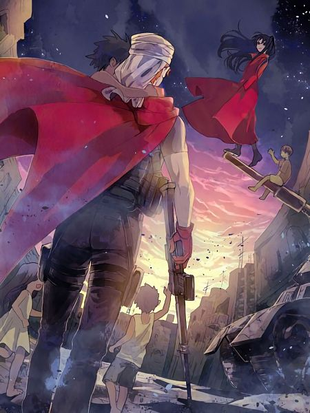 Tags: Anime, Pixiv Id 22972714, Fate/stay night: Unlimited Blade Works, Fate/stay night, Tohsaka Rin, Archer (Fate/stay night), Emiya Shirou, Kindness, Justice, Assault Rifle, War, Country