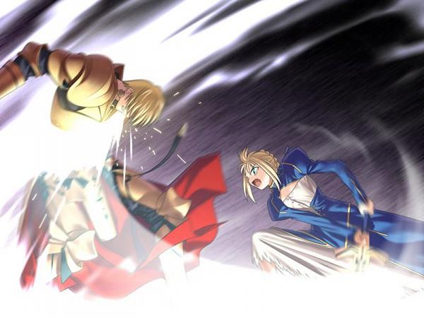 Tags: Anime, Takeuchi Takashi, TYPE-MOON, Fate/stay night, Saber (Fate/stay night), Gilgamesh, Greaves, CG Art