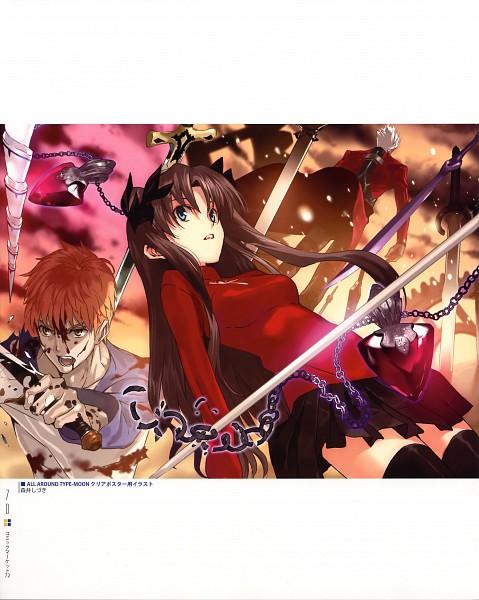 Tags: Anime, Morii Shizuki, TYPE-MOON, Type-MOON Comic Illust Book, Fate/stay night, Tohsaka Rin, Archer (Fate/stay night), Emiya Shirou, Kanshou & Bakuya, Unlimited Blade Works (Noble Phantasm), Scan, Official Art