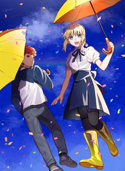 Tags: Anime, Kuribeni, Fate/stay night, Emiya Shirou, Saber (Fate/stay night), Yellow Umbrella, Fanart, Pixiv, Fanart From Pixiv