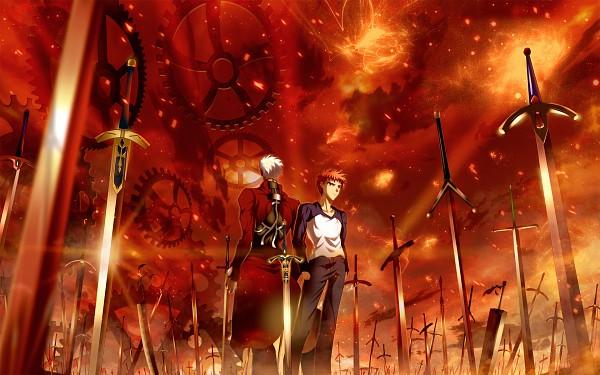 Tags: Anime, Skyt2, BLEACH, Fate/stay night, Zangetsu, Emiya Shirou, Archer (Fate/stay night), Red Sky, Unlimited Blade Works (Noble Phantasm), The Dragonslayer, Caliburn, Wallpaper, Pixiv
