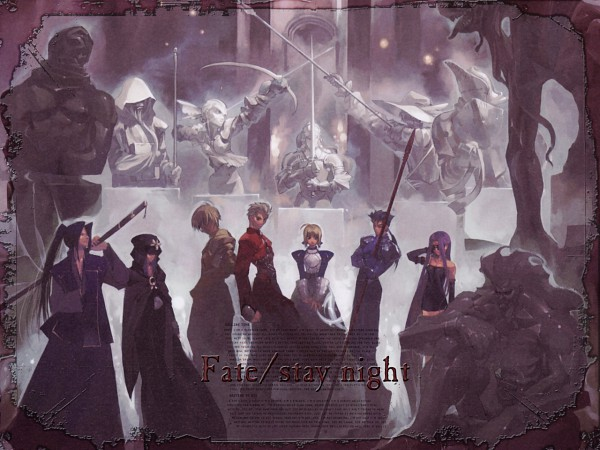 Tags: Anime, TYPE-MOON, Fate/stay night, Caster (Fate/stay night), Berserker (Fate/stay night), Lancer (Fate/stay night), Saber (Fate/stay night), Assassin (Fate/stay night), Archer (Fate/stay night), Rider (Fate/stay night), Gilgamesh, Statue, Wallpaper