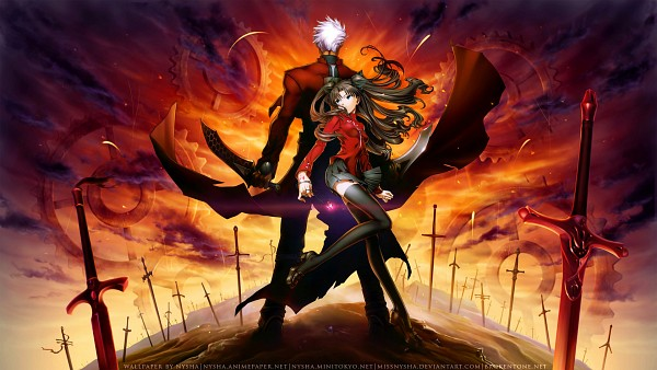 Tags: Anime, TYPE-MOON, Fate/stay night, Tohsaka Rin, Archer (Fate/stay night), Command Seal, Unlimited Blade Works (Noble Phantasm), Facebook Cover, HD Wallpaper, Wallpaper