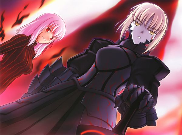 Tags: Anime, Higurashi Ryuuji, TYPE-MOON, Fate/Complete Material IV, Fate/stay night, Matou Sakura, Dark Sakura, Saber (Fate/stay night), Saber Alter, Excalibur Morgan, Scan, Official Art