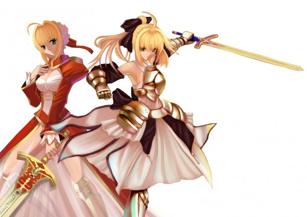 Tags: Anime, Paku, Fate/unlimited codes, Fate/EXTRA, Fate/stay night, Saber (Fate/EXTRA), Saber Lily, Saber (Fate/stay night), Caliburn, Fanart, 3D