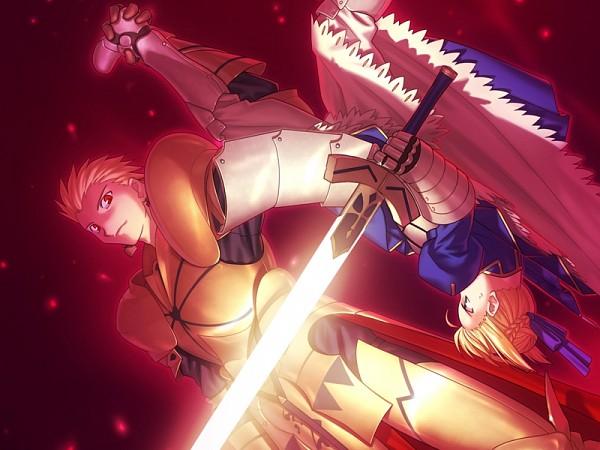 Tags: Anime, Takeuchi Takashi, TYPE-MOON, Fate/stay night, Saber (Fate/stay night), Gilgamesh, Gown, CG Art