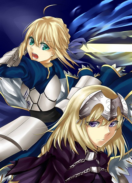 Tags: Anime, Nashoki, TYPE-MOON, Fate/Apocrypha, Fate/stay night, Saber (Fate/stay night), Joan of Arc (Fate/Apocrypha), Pixiv, Mobile Wallpaper