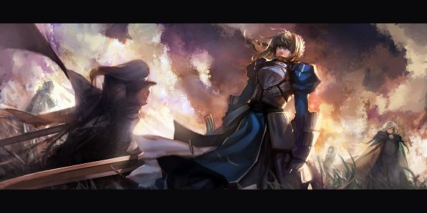 Tags: Anime, Blueman, TYPE-MOON, Fate/zero, Fate/stay night, Berserker (Fate/zero), Saber (Fate/stay night), Merlin (Fate/stay night), Bedivere (Fate/stay night), Sorcerer, Facebook Cover, Pixiv, Fanart