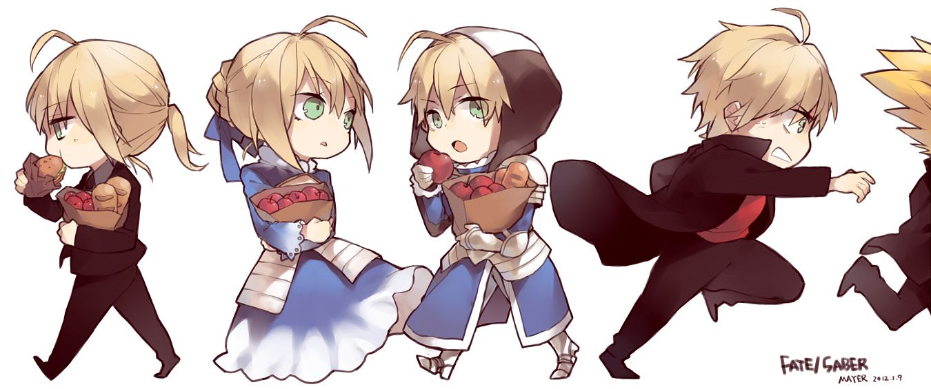 Tags: Anime, Mayer, TYPE-MOON, Fate/Prototype, Fate/zero, Fate/stay night, Saber (Fate/stay night), Gilgamesh, Saber (Fate/Prototype), Paper Bag, Fanart, PNG Conversion, Pixiv