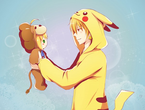 Tags: Anime, Xinya, Fate/tiger colosseum, Fate/stay night, Gilgamesh, Saber Lion, Saber (Fate/stay night), Lion Costume, Pikachu (Cosplay), Pokémon (Cosplay), Fanart