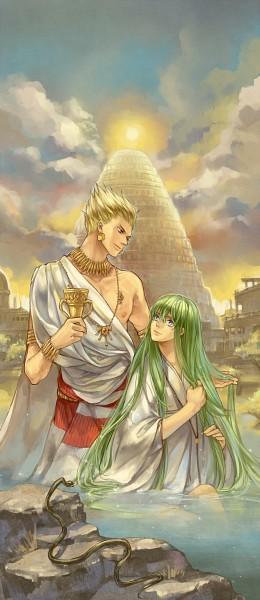 Tags: Anime, Pixiv Id 419830, TYPE-MOON, Fate/strange fake, Gilgamesh, Lancer (Fate/strange fake), Pixiv